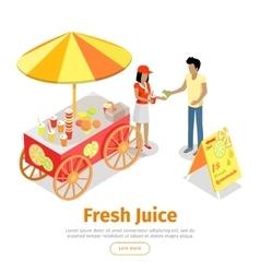 Fresh Juice Conceptual Isometric Web Banner vector image vector image