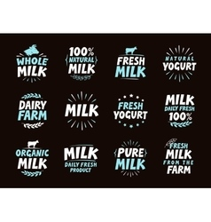 Fresh milk set logo label element dairy product vector