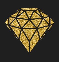 geometrical golden glitter diamond isolated on vector image vector image
