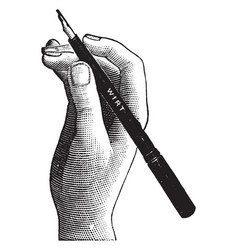 Hand holding pen and writing vintage engraving vector