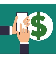 Hand holds smartphone with dollar symbol vector