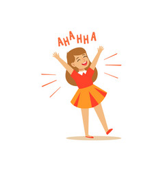 Happy girl in a dress laughing out loud colorful vector