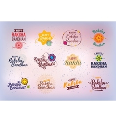 Happy raksha bandhan emblems set vector