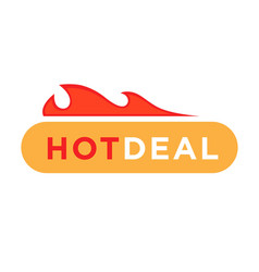 hot deal discount price icon with fire vector image vector image