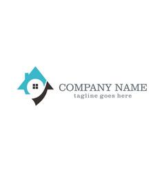 house unique realty company logo vector image