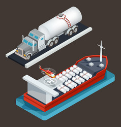 Isometric truck with tanker and sea tanker vector