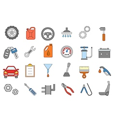 Mechanic colorful icons set vector image