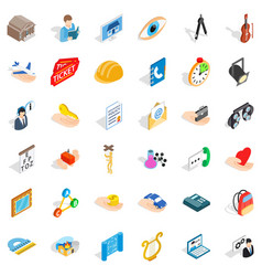 One work icons set isometric style vector