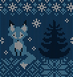 Seamless knit pattern with fox vector image vector image