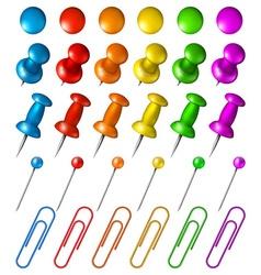 Set of multicolored pushpins vector