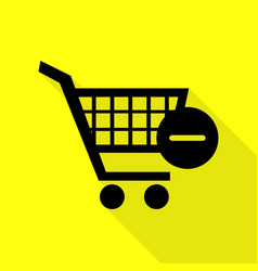 Shopping cart with remove sign black icon vector