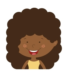 Silhouette half body afro girl with curly hair vector