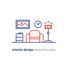 simple interior apartment design services line vector image vector image