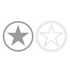 Star in circle grey set icon vector