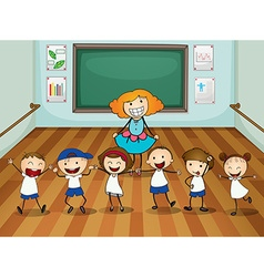 Teacher and students in dancing class vector