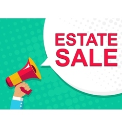 Megaphone with estate sale announcement flat vector