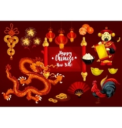 Chinese new year and spring festival greeting card vector