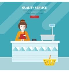 Quality service shop assistant at the cash desk vector