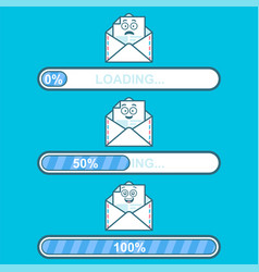 Set of downloaders with email cartoon vector