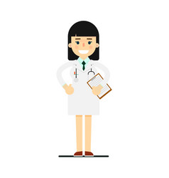 Friendly young pharmacist in medical uniform vector