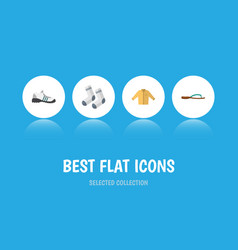 Flat icon garment set of foot textile sneakers vector