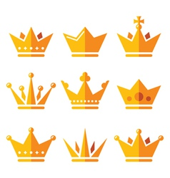 Gold crown royal family icons set vector