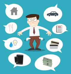Business man with financial issue vector