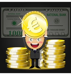 Happy man and stack of big golden coins vector