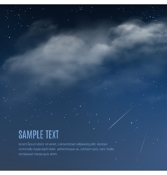 Night background clouds and shining stars vector