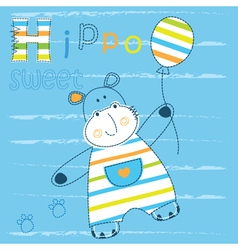 Baby background with cute hippo vector