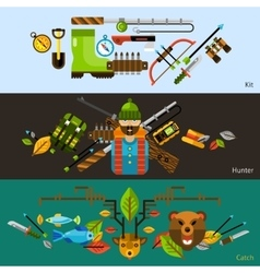 Hunting and fishing banners vector