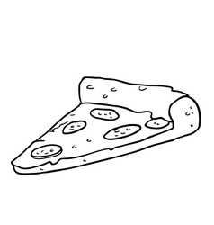 Black and white pizza slice vector