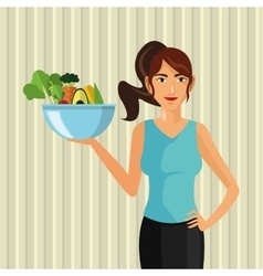 Organic food healthy lifestyle cartoon design vector