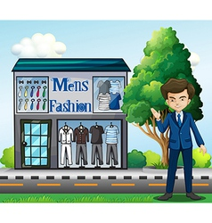 A business owner outside the mens fashion shop vector