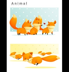 Animal background with foxes 1 vector