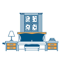 bedroom with sofa bed window in the night vector image