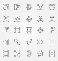 Blockchain icons set cryptography block vector
