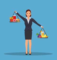 business woman balancing vector image