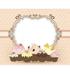 Card with muffins vector image vector image