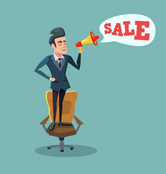 Cartoon businessman with megaphone promoting sale vector
