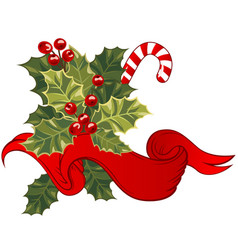 christmas card with holly berry vector image vector image