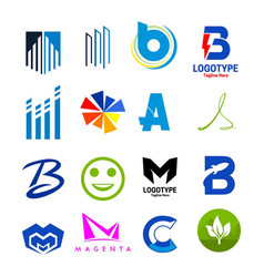 collection icons logotype vector image vector image