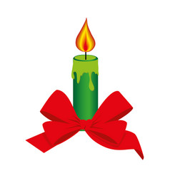 Color silhouette with christmas candle and red bow vector