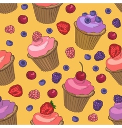 Cupcakes and berries seamless pattern vector image vector image