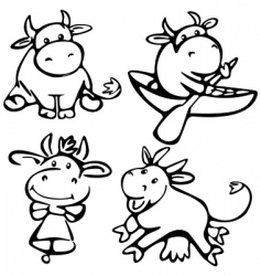 Cute cows vector