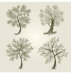 decorative tree from leafs vector image vector image