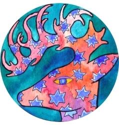 Deer with stars vector