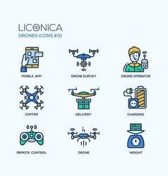 drones - modern flat line design icons set vector image vector image