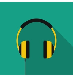 Flat headphones with long shadow icon vector image vector image
