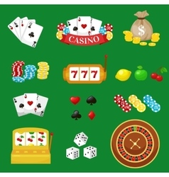 Gambling pictograms set Deck of cards and casino vector image